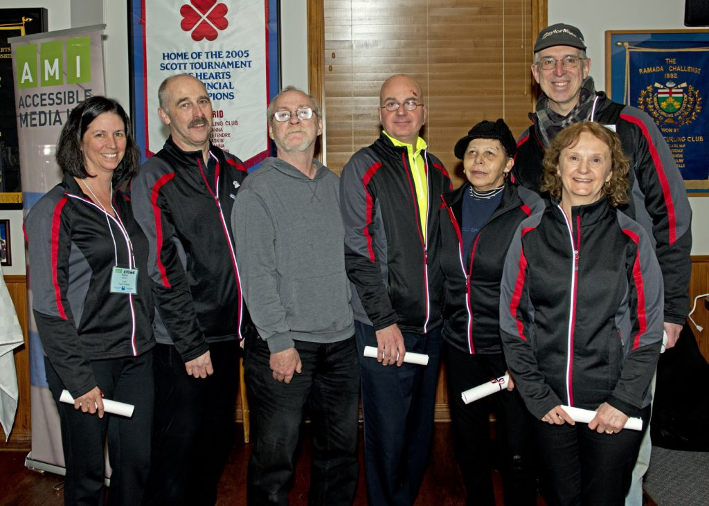 ​Consolation Winners Team Ontario (Toronto) Left to Right: Karen Heywood (Coach), Grant Robinson (Third), Paul Hilts (Second), Charles Craig (Sweeper), Ida Skinner (Lead), John Routh (Guide), Ann LaFontaine (Skip)​