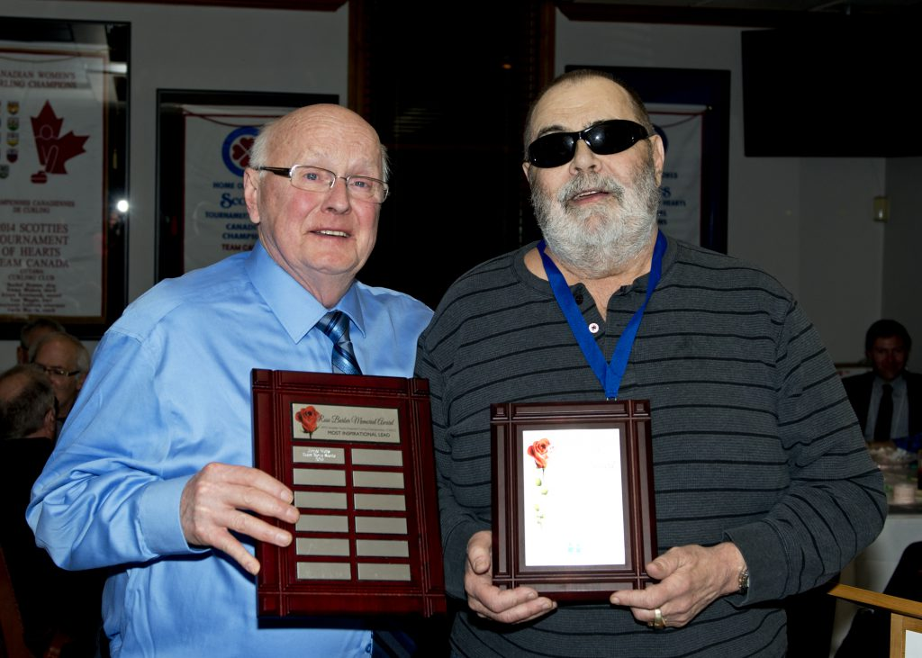 Roger Morin stands on the left holding the large winners plaque that has all the winners names inscribed onto it. Bob Comba stands beside him on the right holding the personal plaque the winner takes home.​