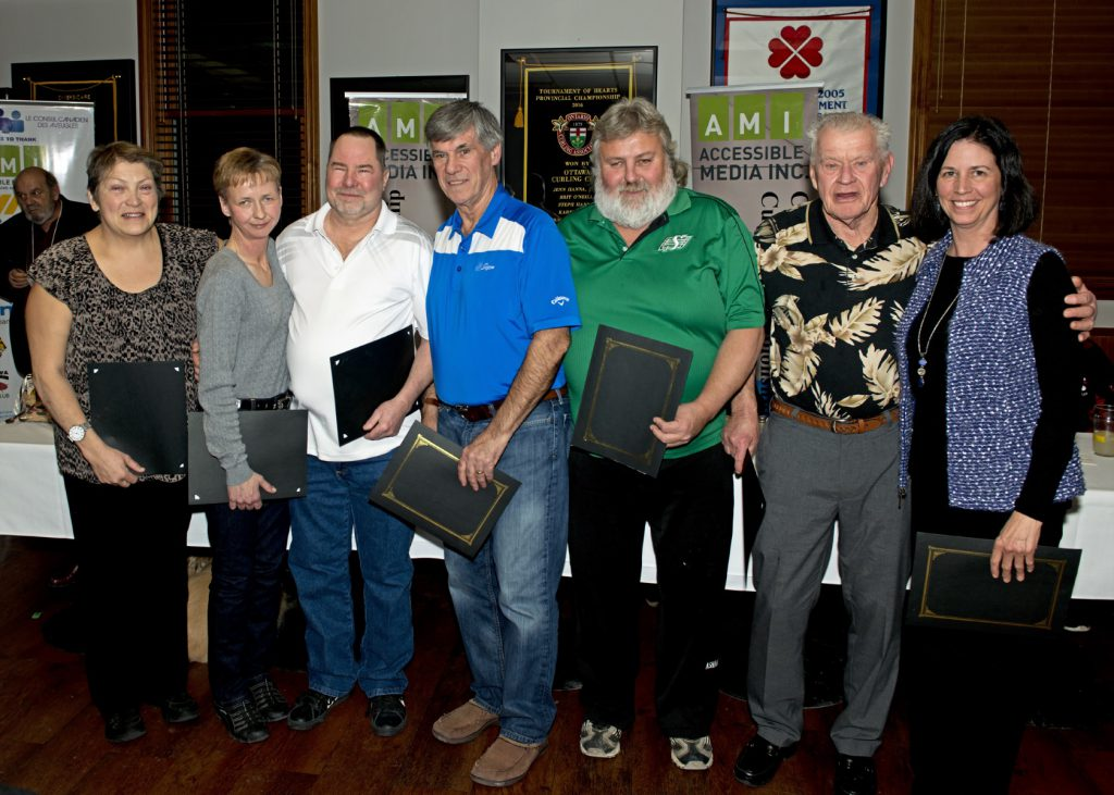 ​2017 CVICC All Star Team Left to Right: Carrie Speers (Sweeper), Natalie Morin (Skip),Bill Horvath (Third), Mike Vrooman (Second), Marv Anfinson (Lead), Dan Martell (Guide), Karen Heywood (Coach)​