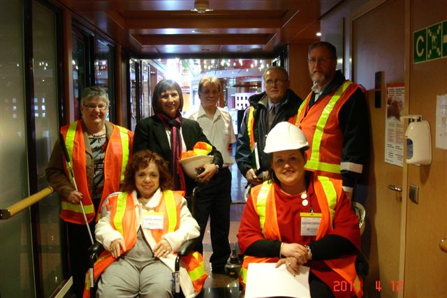 CCB President, Louise Gillis, joins a group inspecting Marine Atlantic Transportation to ensure they are accessible to persons living with all types of disabilities.