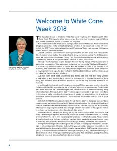 Welcome to White Cane Week from Louise Gillis, Page one