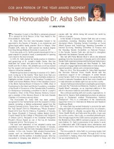 Person of the Year - The Honourable Dr. Asha Seth