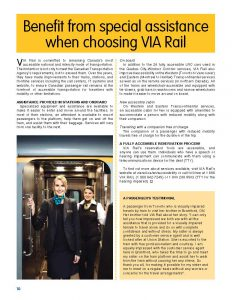 Benefit from special assistance when choosing VIA Rail