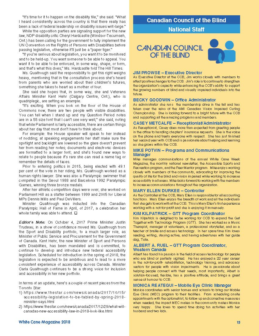 White Cane Magazine – Canadian Council of the Blind