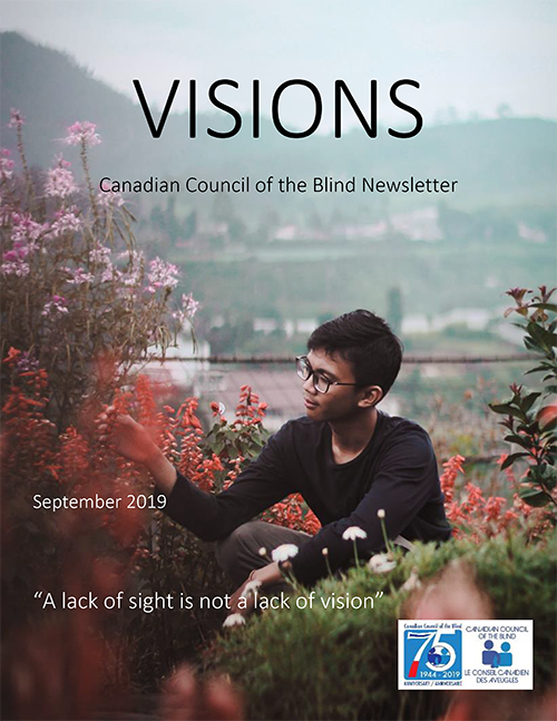 Cover of the Visions Newsletter.  A boy with glasses sits in a rooftop garden.  He is reaching out to touch some read flowers.  The CCB logo and 75th logo are in the lower right hand corner.