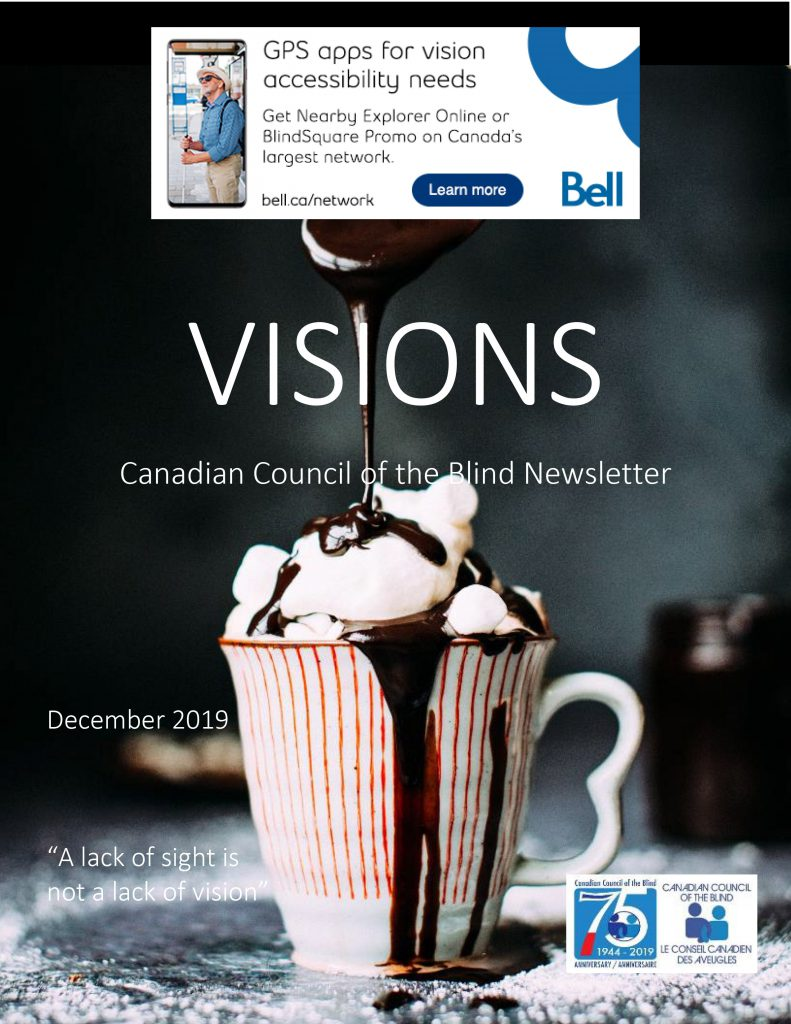 Cover of VISIONS CCB Newsletter for December 2019.  It shows a cup of cocoa with marshmallows and whipped cream having chocolate sauce poured on it.