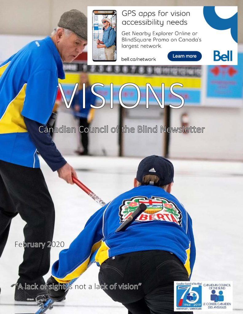 Cover of VISIONS for February 2020 featuring the CVICC curlers