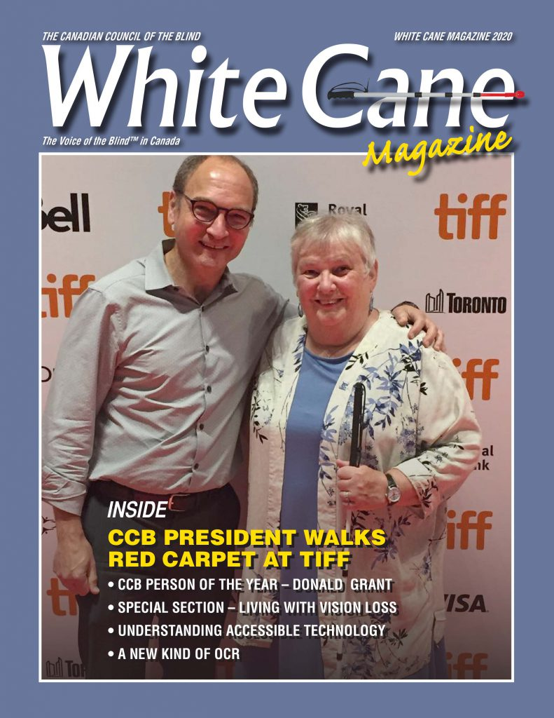 The White Cane Magazine Cover.  Image featuring Louise Gillis on the red carpet at the Toronto International Film Festival.