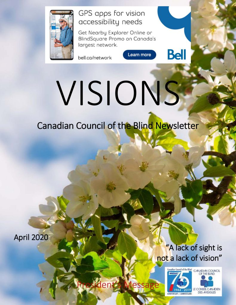 Cover of VISIONS  April 2020 featuring sunlight through fruit blossoms.