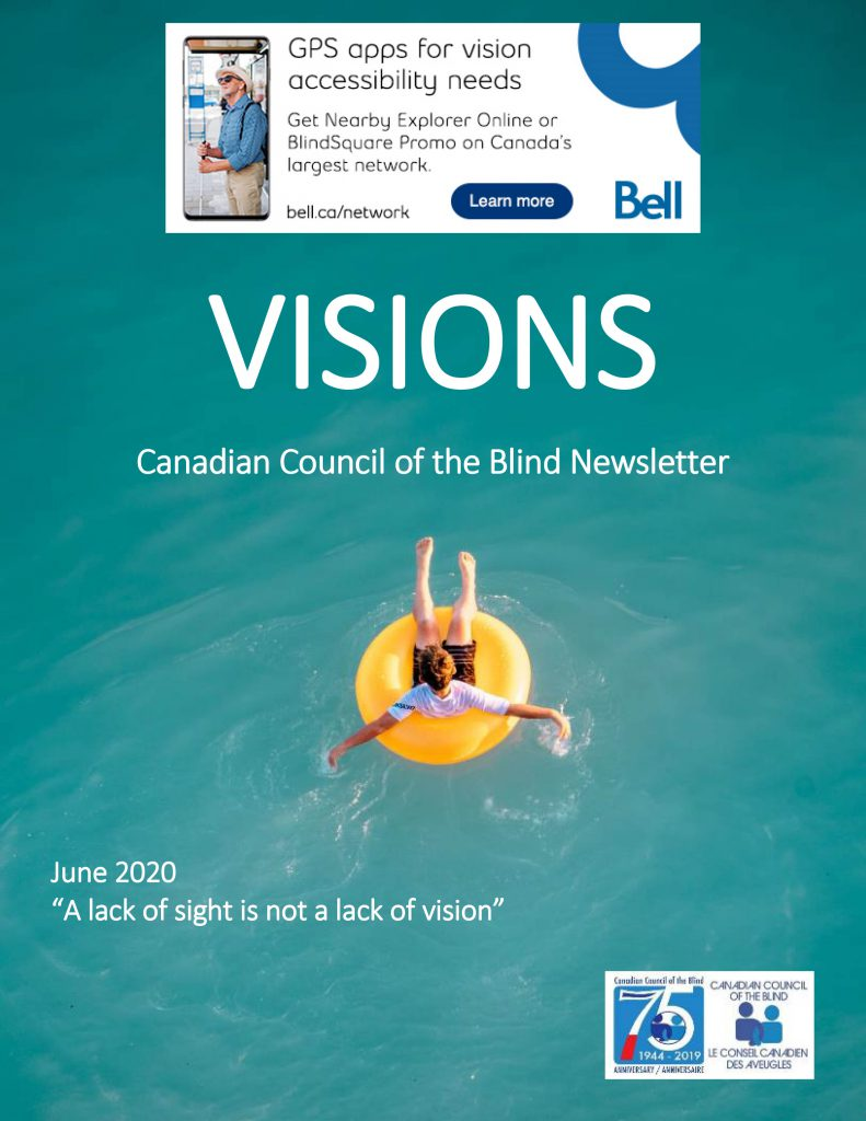 VISIONS Newsletter cover featuring a person in a yellow inflated ring floating on a light blue ocean.