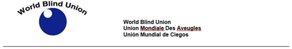 World Blind Union Union Mondiale Des Aveugles Union Mundial de Ciegos Logo