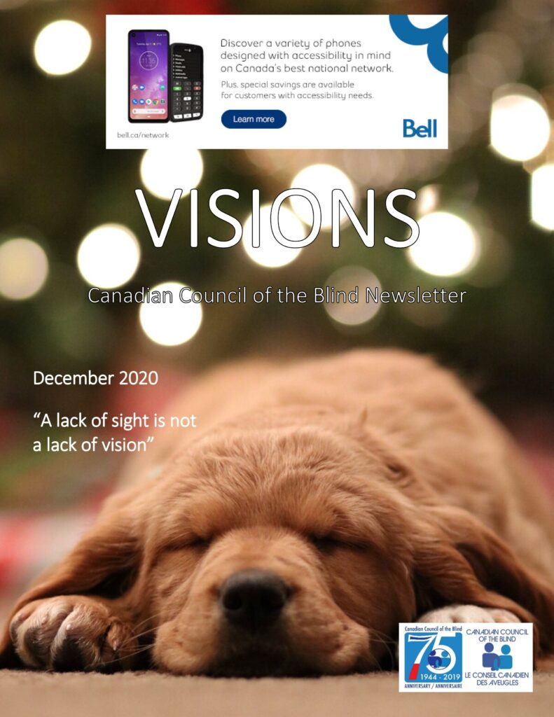 Cover of the December issue of VISIONS featuring a sleeping puppy.