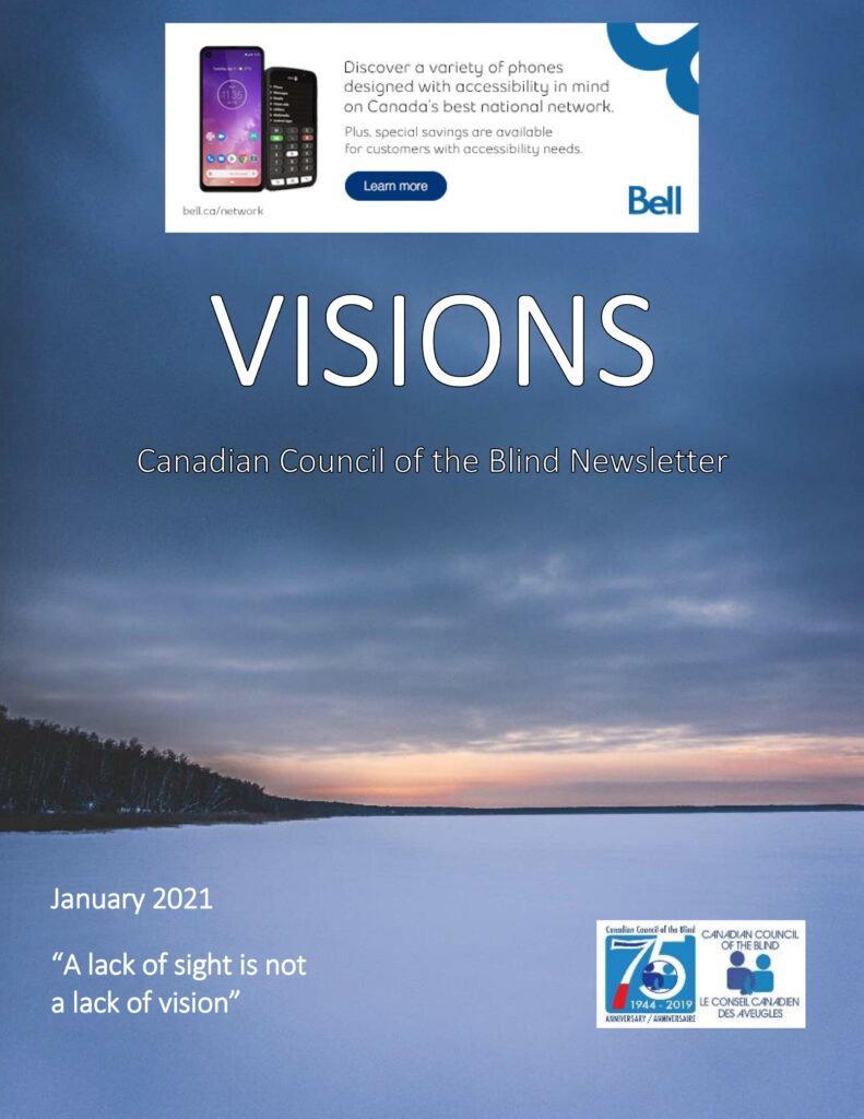 Cover of the January Issue of VISIONS newsletter showing a winter scene.