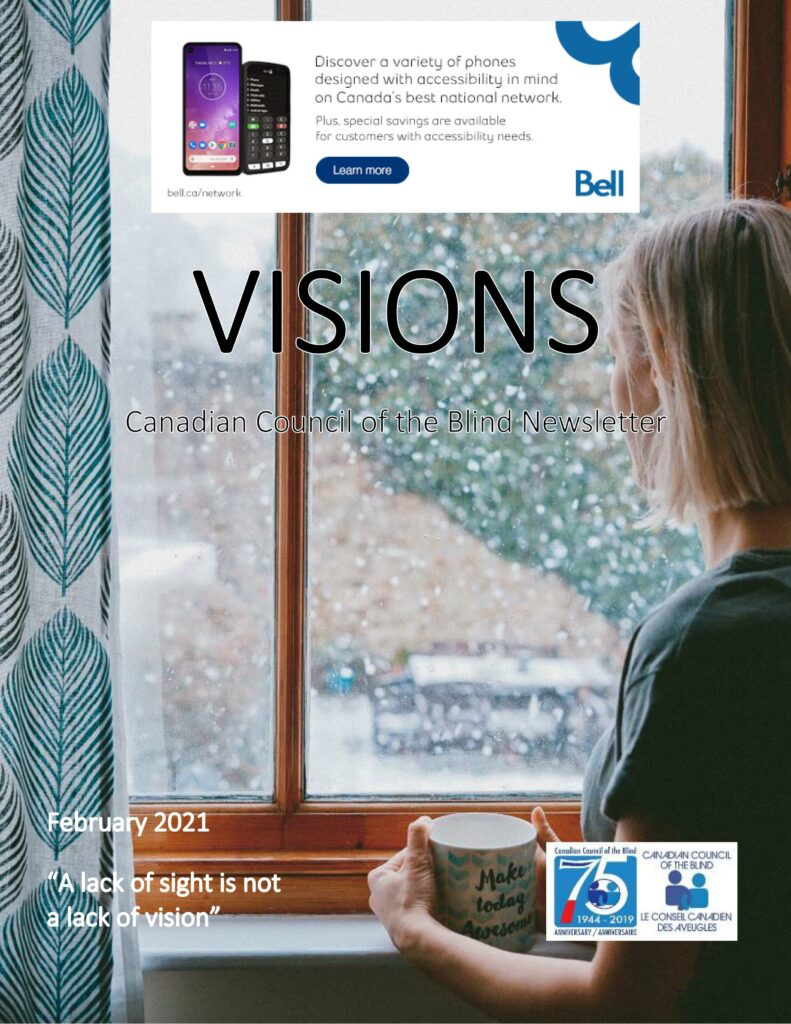 Cover of VISIONS February Edition Featuring a young woman standing at a window.