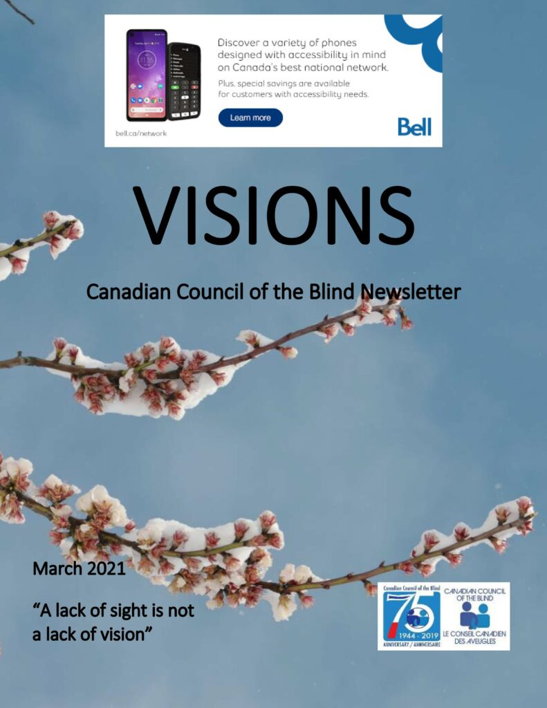 VISIONS Newsletter cover featuring snow covered tree buds against a blue sky.