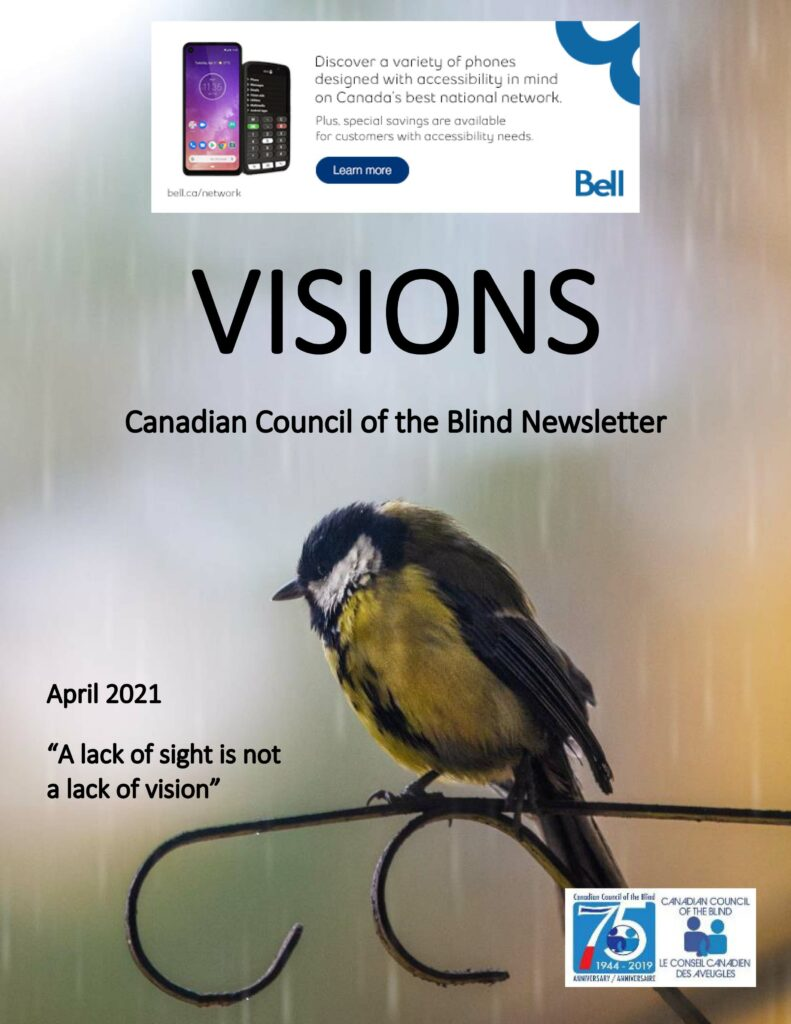 Cover of VISIONS for April featuring a small bird hiding from the rain.