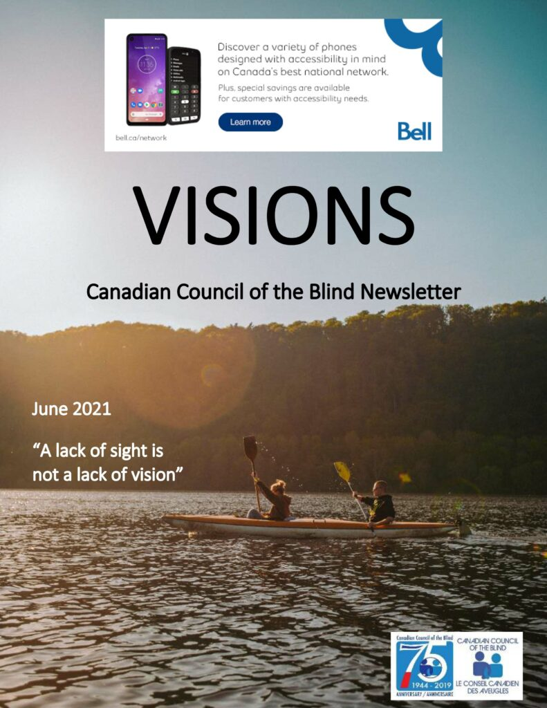 VISIONS newsletter cover featuring two people in a kayak .